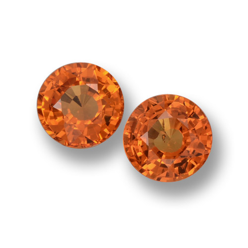 Orange Sapphire Gem - 0.6ct Round Facet (ID: 461189)