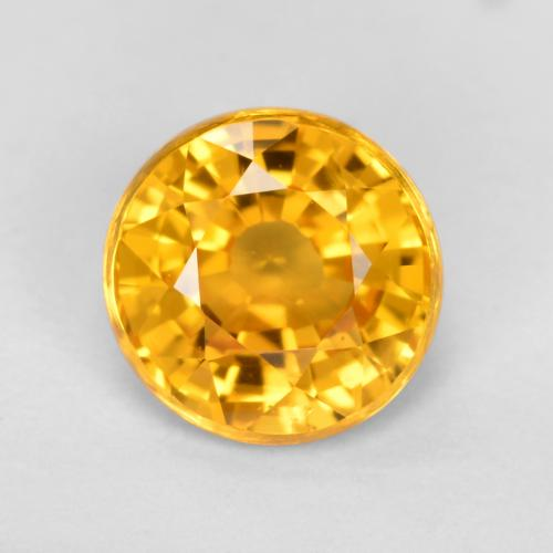 Yellow Golden Sapphire Gem - 0.8ct Round Facet (ID: 461294)