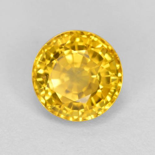 Yellow Golden Sapphire Gem - 0.8ct Round Facet (ID: 461300)
