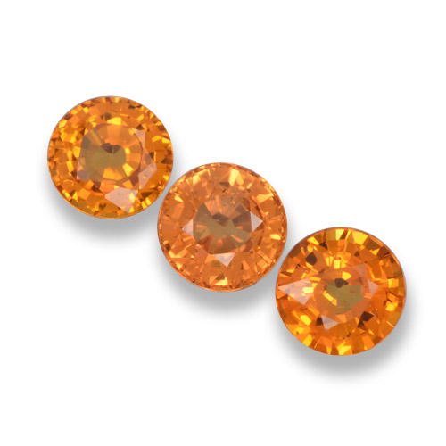 Yellow Orange Sapphire Gem - 0.6ct Round Facet (ID: 461331)