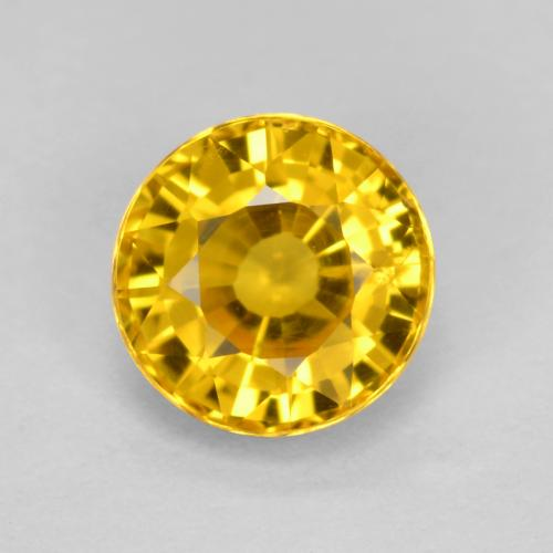 Yellow Golden Sapphire Gem - 0.7ct Round Facet (ID: 461937)