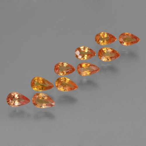 Bright Orange Sapphire Gem - 0.3ct Pear Facet (ID: 462012)