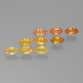 Yellow Orange Sapphire Gem - 0.2ct Marquise Facet (ID: 462072)