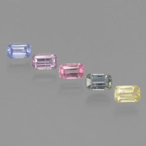 Multicolor Sapphire Gem - 0.4ct Octagon Step Cut (ID: 462149)