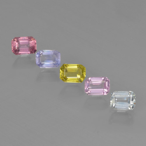 Multicolor Sapphire Gem - 0.3ct Octagon Step Cut (ID: 462172)