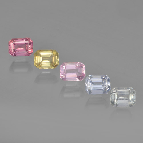 Multicolor Sapphire Gem - 0.3ct Octagon Step Cut (ID: 462173)