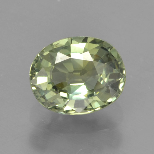 Warm Green Zaffiro Gem - 0.9ct Ovale sfaccettato (ID: 462882)