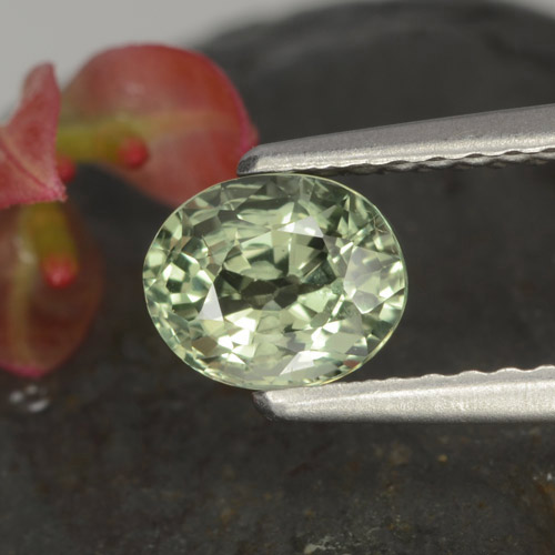 Light Green Sapphire Gem - 0.9ct Oval Facet (ID: 462885)
