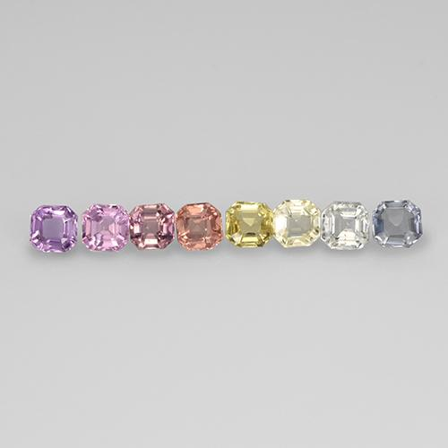 Multicolor Sapphire Gem - 0.1ct Octagon Step Cut (ID: 463109)