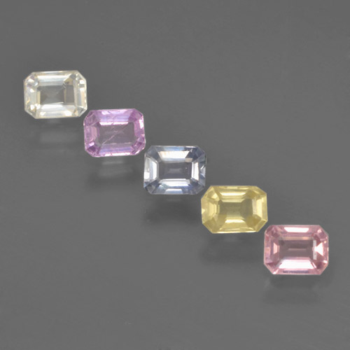 Multicolor Sapphire Gem - 0.3ct Octagon Step Cut (ID: 463629)