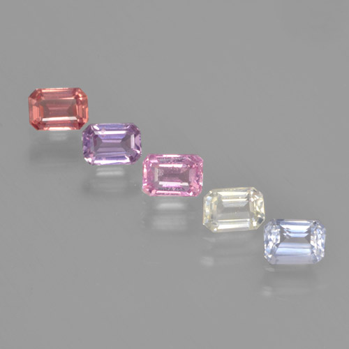 Multicolor Sapphire Gem - 0.3ct Octagon Step Cut (ID: 463722)