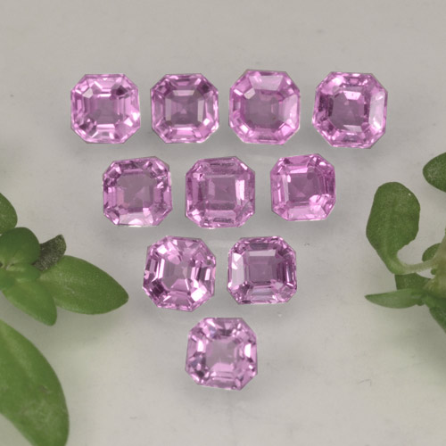 Violet Pink Sapphire Gem - 0.1ct Octagon Step Cut (ID: 464206)