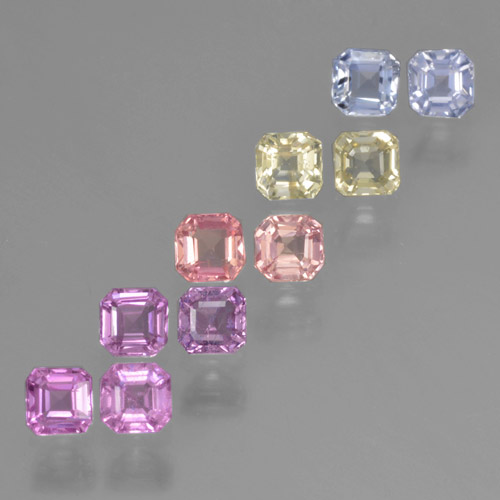 Multicolor Sapphire Gem - 0.2ct Octagon Step Cut (ID: 464209)