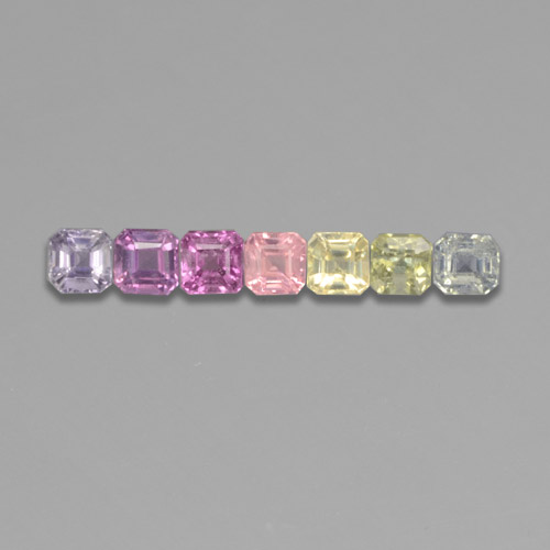 Multicolor Sapphire Gem - 0.2ct Octagon Step Cut (ID: 464574)