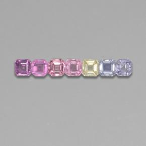 Multicolor Sapphire Gem - 0.2ct Octagon Step Cut (ID: 464579)