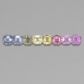 Multicolor Sapphire Gem - 0.2ct Octagon Step Cut (ID: 464584)