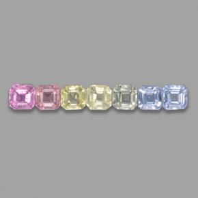 Multicolor Sapphire Gem - 0.2ct Octagon Step Cut (ID: 464656)
