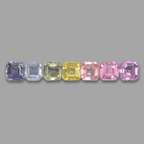Multicolor Sapphire Gem - 0.2ct Octagon Step Cut (ID: 464657)