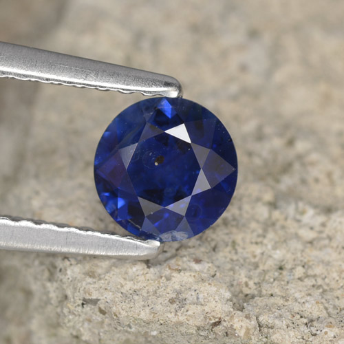 Azul real Zafiro Gema - 0.7ct Corte Diamante (ID: 467390)