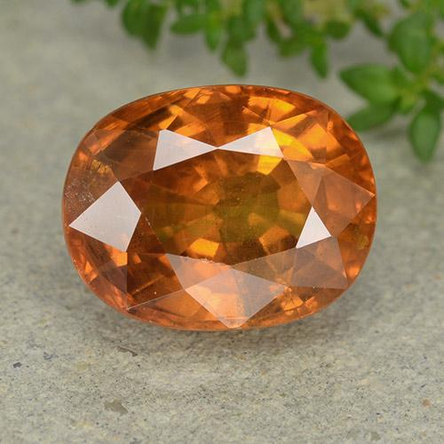 Deep Orange Sapphire Gem - 7.4ct Oval Facet (ID: 488878)