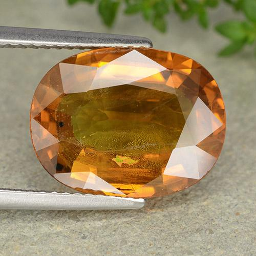 Medium Orange Sapphire Gem - 7.8ct Oval Facet (ID: 488879)