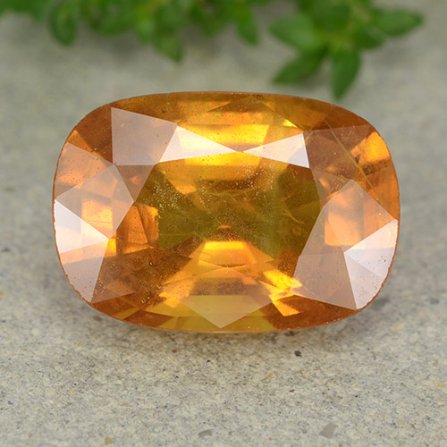 6.4ct Cushion-Cut Yellow Orange Sapphire Gem (ID: 488885)