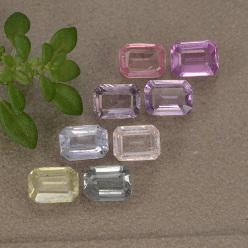 Multicolor Sapphire Gem - 0.2ct Octagon Step Cut (ID: 492677)