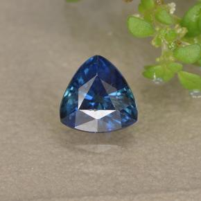 Greenish Blue Sapphire Gem - 0.5ct Trillion Facet (ID: 495405)