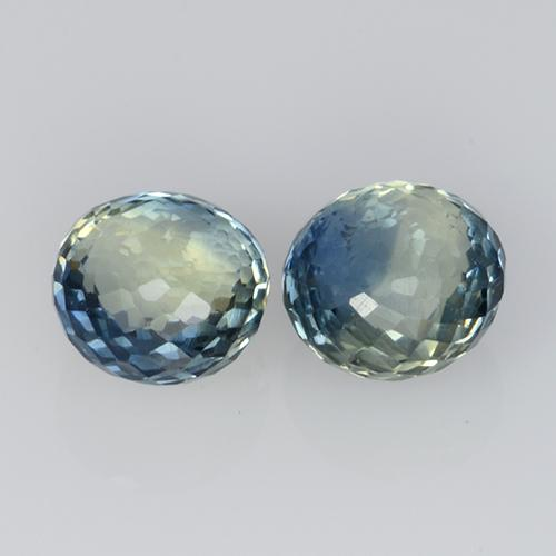 0.5ct Round Mixed-Cut Greenish Blue Sapphire Gem (ID: 496491)