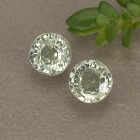 Light Greenish White Sapphire Gem - 0.4ct Round Facet (ID: 496556)