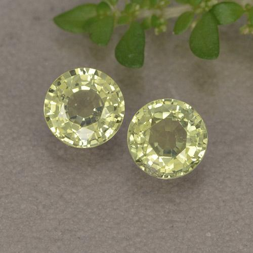 Yellowish Green Sapphire Gem - 0.4ct Round Facet (ID: 496559)