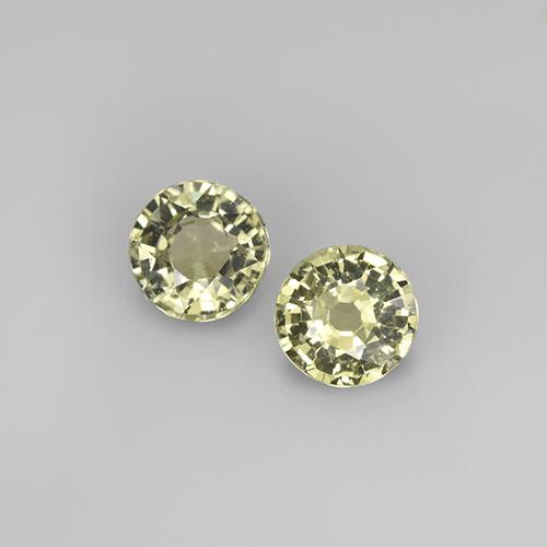 Greenish Yellow Sapphire Gem - 0.4ct Round Facet (ID: 496560)
