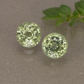 Yellowish Green Sapphire Gem - 0.4ct Round Facet (ID: 496562)