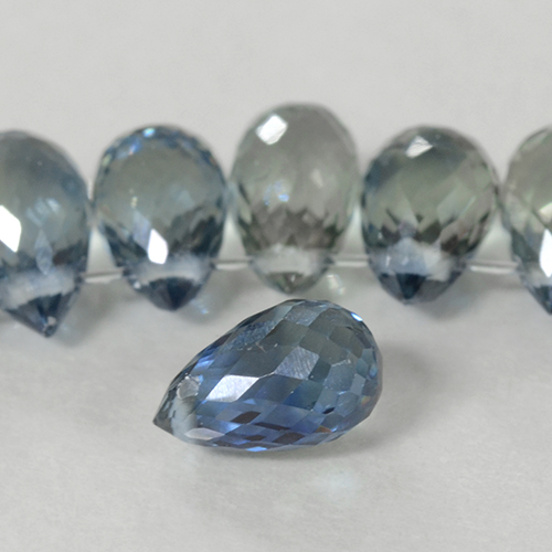 Greenish Blue Sapphire Gem - 0.7ct Briolette with Hole (ID: 500803)