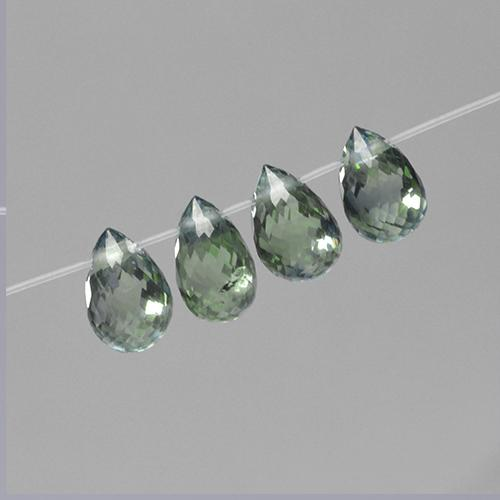 Green Sapphire Gem - 0.8ct Briolette with Hole (ID: 501573)