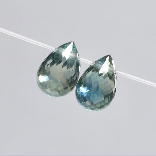 0.8ct Briolette with Hole Bluish Green Sapphire Gem (ID: 501666)
