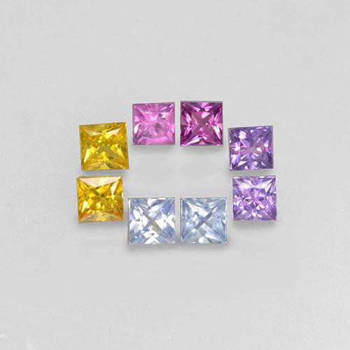 Multicolor Sapphire Gem - 0.2ct Princess-Cut (ID: 505160)