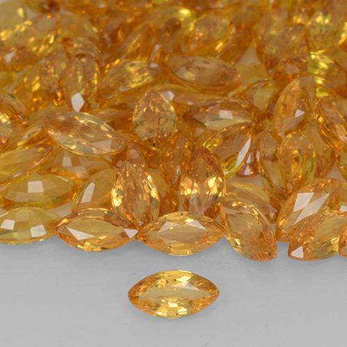 Yellow Orange Sapphire Gem - 0.2ct Marquise Facet (ID: 508820)