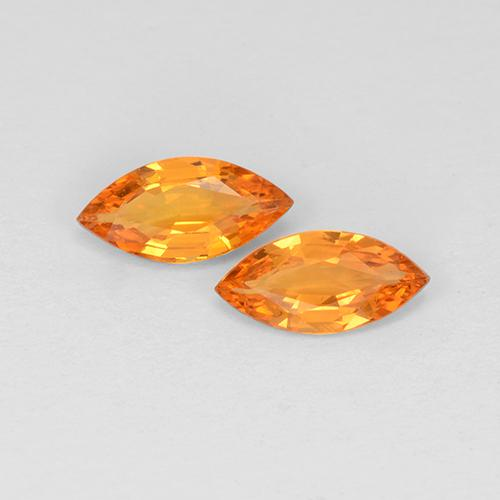 Yellow Orange Sapphire Gem - 0.4ct Marquise Facet (ID: 508870)