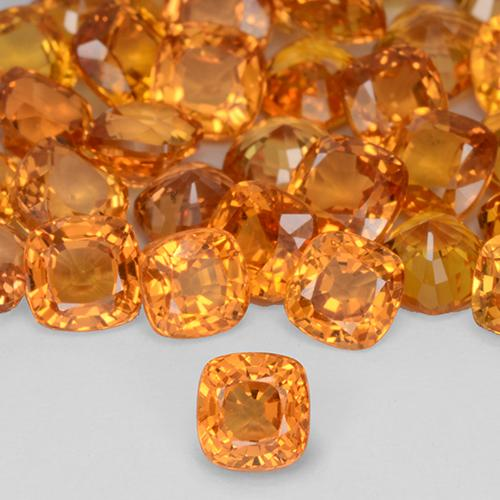Yellow Orange Sapphire Gem - 0.5ct Cushion-Cut (ID: 509216)