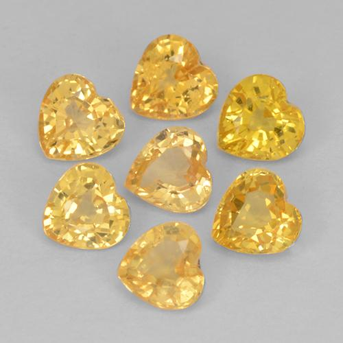 Yellow Golden Sapphire Gem - 0.1ct Heart Facet (ID: 510614)