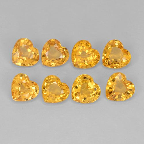 Yellow Golden Sapphire Gem - 0.2ct Heart Facet (ID: 510615)