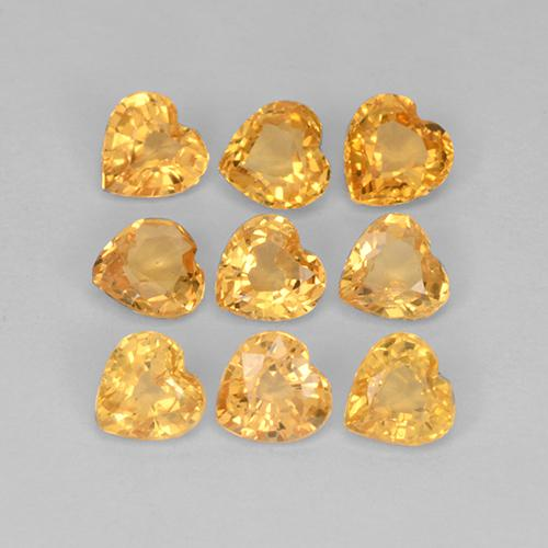 Dark Orange-Gold Sapphire Gem - 0.1ct Heart Facet (ID: 510616)