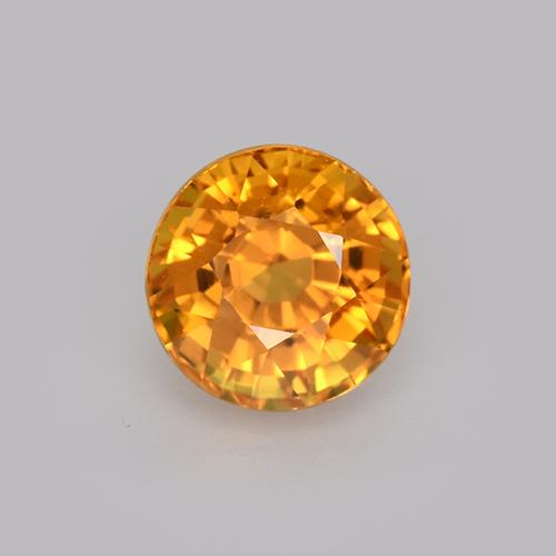 Deep Orange-Gold Sapphire Gem - 1ct Round Facet (ID: 512114)