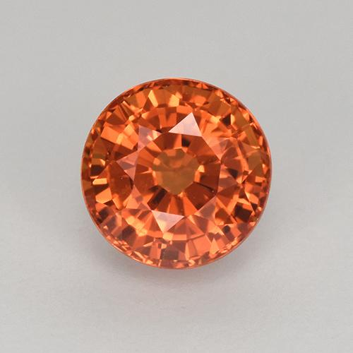 Orange Sapphire Gem - 1ct Round Facet (ID: 512351)