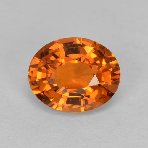 Reddish Orange Sapphire Gem - 1.1ct Oval Facet (ID: 513239)