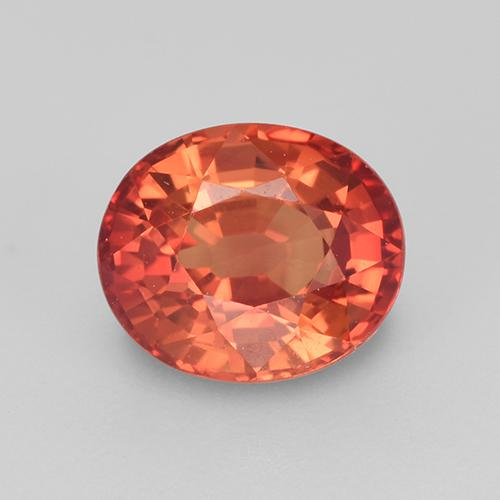 rot-orange Saphir Edelstein - 1.3ct Oval facettiert (ID: 513456)