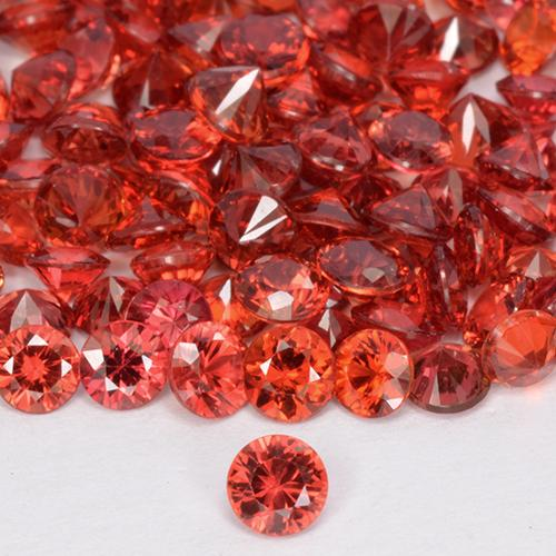 Red Orange Sapphire Gem - 0.1ct Diamond-Cut (ID: 514439)