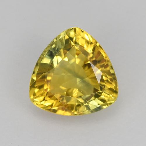Greenish Yellow Sapphire Gem - 0.6ct Trillion Facet (ID: 517961)