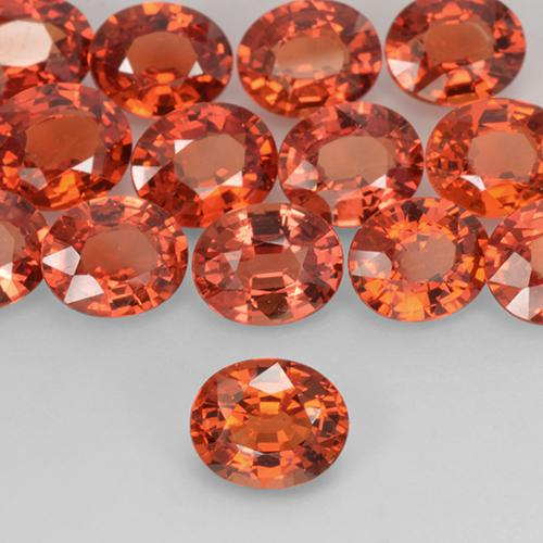 Red Orange Sapphire Gem - 0.8ct Oval Facet (ID: 519035)